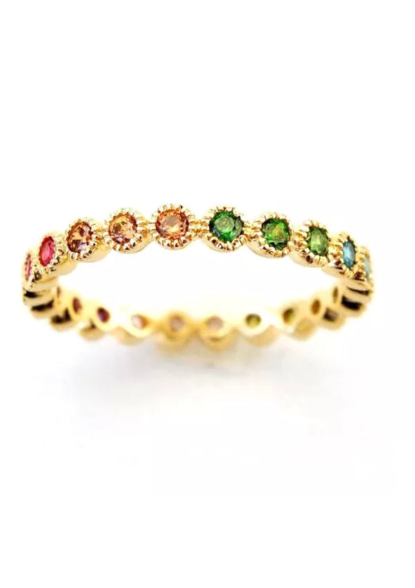 Natural Multi Color Gemstone Solid 14K Gold Eternity Stackable Ring