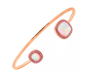 Created White Opal & Pink Sapphire 18K Gold Over Sterling Cuff Bracelet