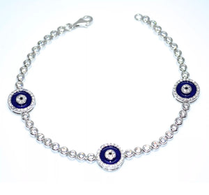 Hamsa Evil Eye Dark Blue Gold Over Sterling Silver Bracelet