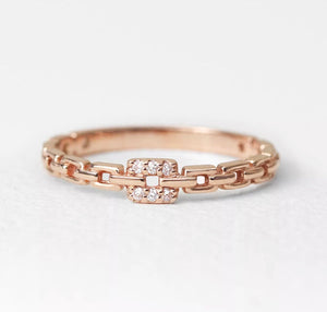 Natural Diamond 14K Solid Rose Gold Chain Shape Ring