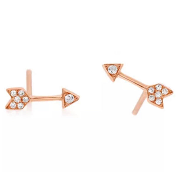 .11 Ct Natural F/V1Diamond Arrow Shaped Solid 14K Stud Earrings