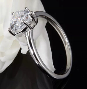 2.0 Ct Simulated Heart Diamond 14K White Gold Engagement Band