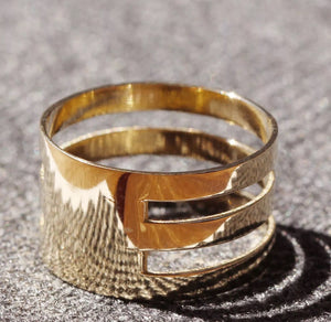 Wide Flat Triple Band Solid 14K Gold Cuff Band Ring