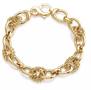 Gold-Plated Bronze and Twisted Oval Link Bracelet