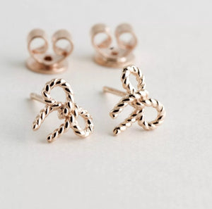 Rose Gold Over Sterling Bowtie Stud Earrings