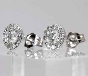 1.5 CTW Natural Diamond 14K White Gold Halo Stud Earrings