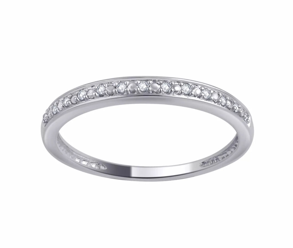 Genuine Diamond 10K White Gold Band
