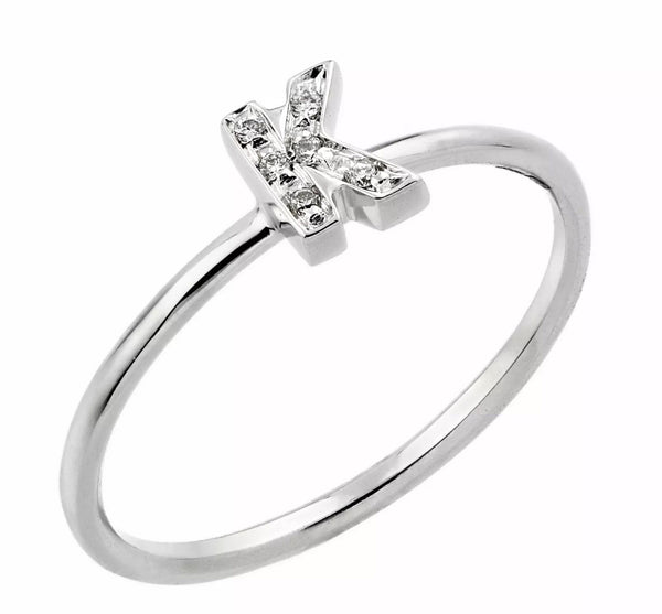 "Natural Round Cut Diamond Solid 14K Gold  ""Intial"" Ring"