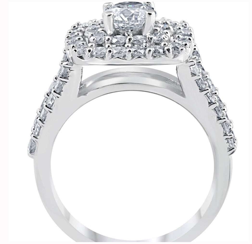 3.0 Ct Diamond Double Cushion Halo 10k White Gold Trio Ring Set