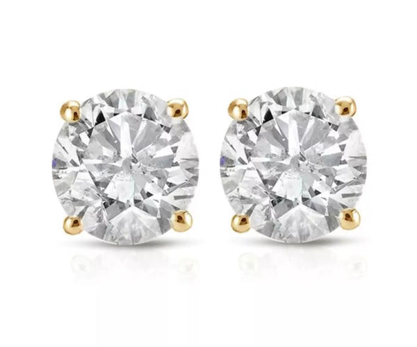 0.30 CT Natural Diamond Solid 14K Gold Stud Earrings