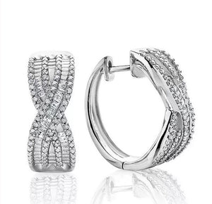 1/2 Ct Natural Diamond Sterling Silver Hoop Earrings
