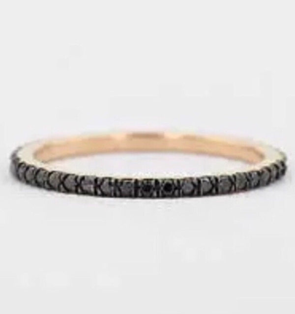 .50 Ct Natural Black Diamond 14K Over Sterling Eternity Band