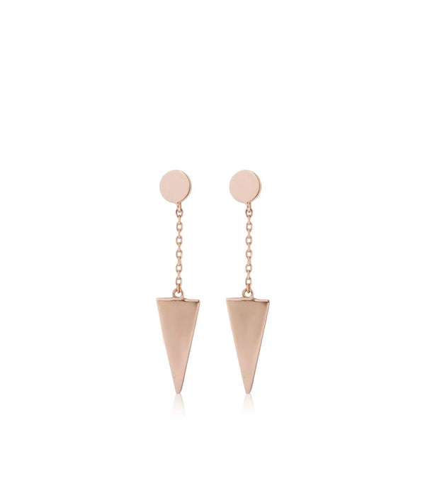 Solid 14K Yellow Gold Round Disc Triangle Earrings