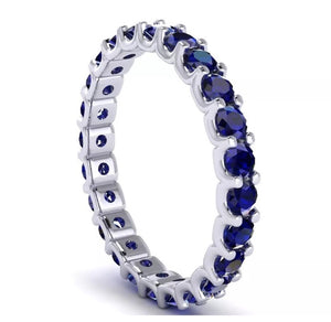 2.10Ct Natural Round Blue Sapphire 10k White Gold Eternity Band