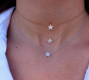 0.14 Ct Natural Diamond Tiny Star Pendant 14K Gold Choker Necklace