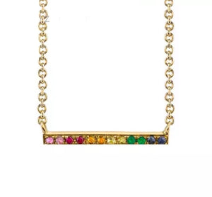 Natural Multi Color Gemstone Solid 14K Gold Bar Pendant Necklace