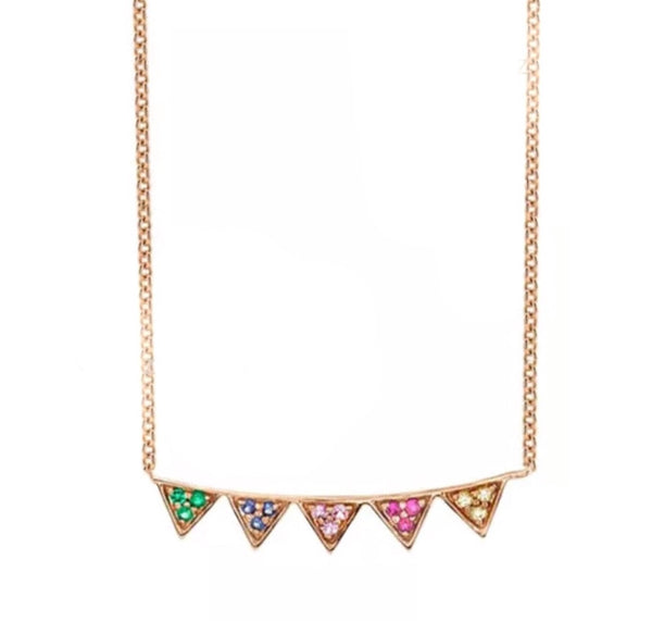 Natural Multi Sapphire & Diamond 14K Gold Triangle Pendant Necklace