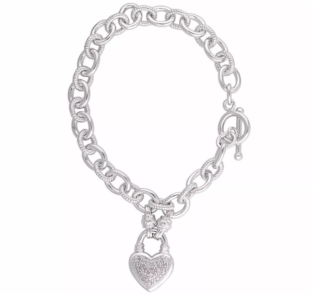 1/4 CT Natural Diamond Heart Link Bracelet