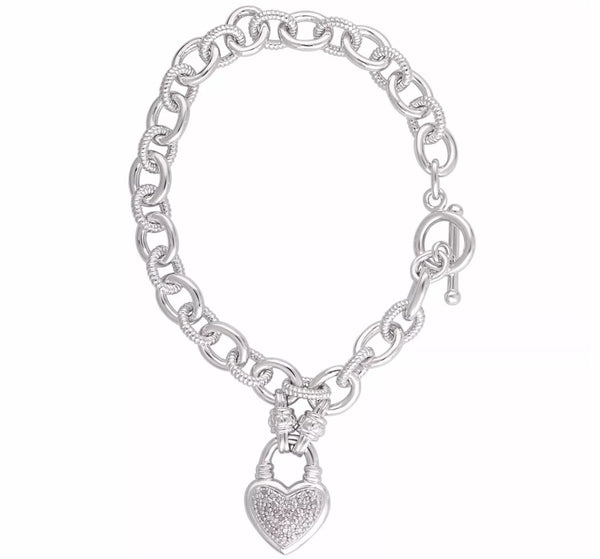 0.25 CT Natural Diamond Heart Link Bracelet