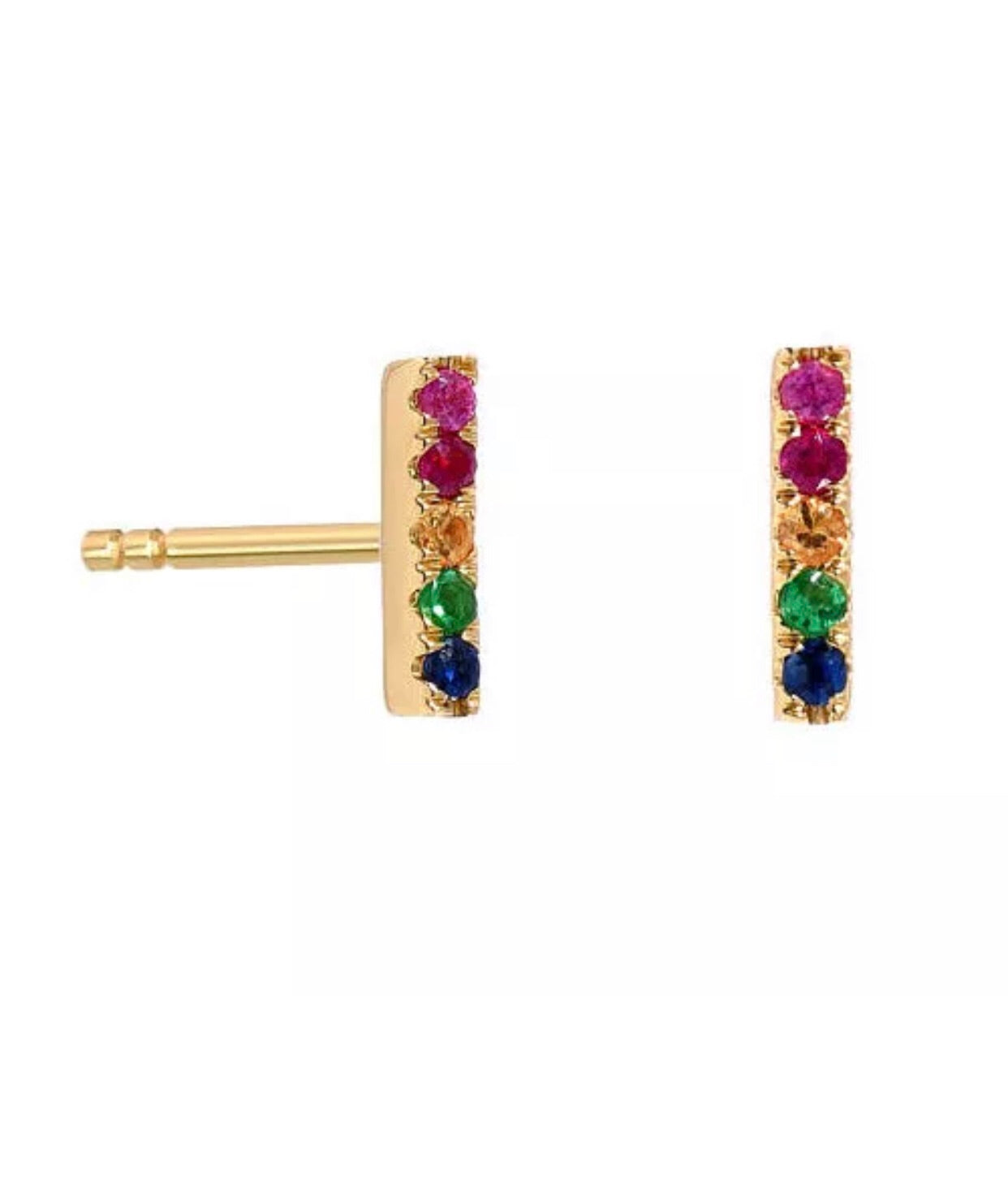 84b2e6bf3 Natural Diamond Multi Color Gemstone Turquoise Solid 14K Gold T Bar Stud  Earrings