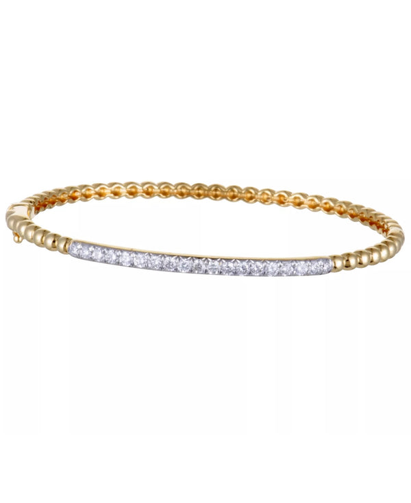 0.67 CTW Natural Diamond Solid 18K Yellow Gold Bangle Bracelet