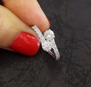 1.0 Ct Natural Diamond Two Stone Forever Us 14K White Gold Ring