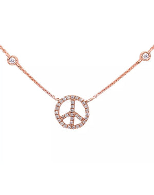 .10 Ct Natural Diamond Peace Sign Solid 14K Gold Bezel Necklace