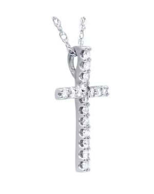 0.10 Ct Natural Diamond 14K Gold Cross Pendant Necklace