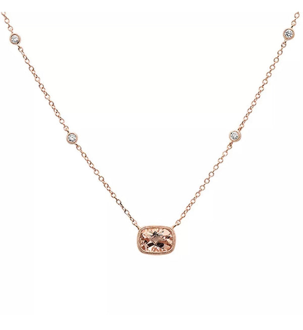 .99 Ct Morganite Diamond Solid 14K Rose Gold Necklace