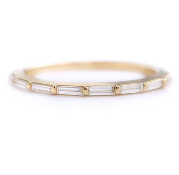 0.90 CT Baguette Cut 14K Yellow Gold Finish Half Eternity Band