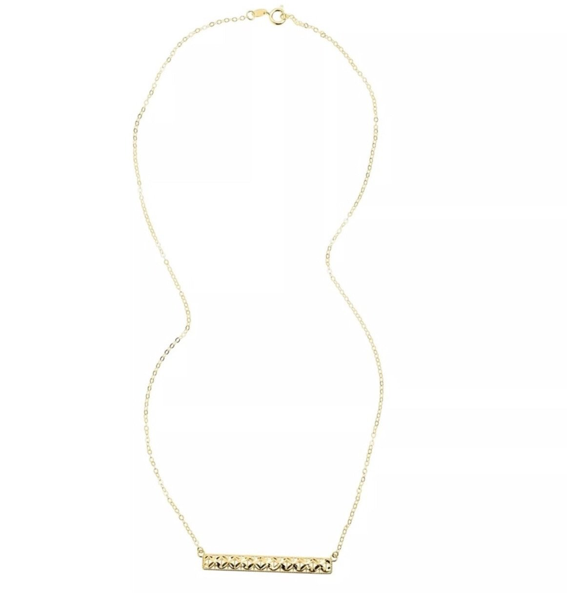 Eternity Horizontal Textured Bar Necklace in Solid 10K Yellow Gold
