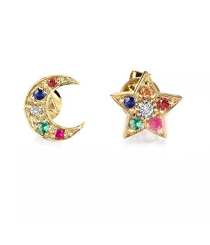 Natural Diamond & Multi Gemstone Star & Moon Design 14K Gold Stud Earrings