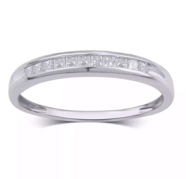 .25 Ct Natural Princess Cut Diamond 10K White Gold Band