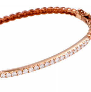 0.62 CTW Natural Diamond Solid 18K Rose Gold Bangle Bracelet