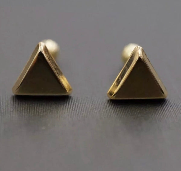 Solid 14K Yellow Gold Triangle Screw Back Stud Earrings