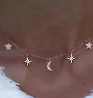 Studded Natural Diamond Starburst & Half Crescent Moon 14K Gold Necklace
