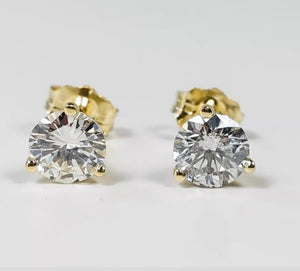4.0 Ct Diamond Martini 14K Yellow Gold Stud Earrings