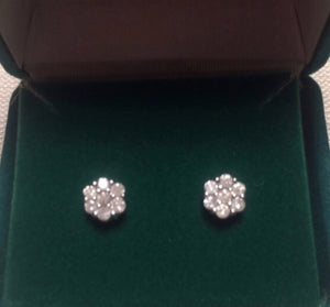 1/2 CTTW Natural Diamond Flower Composite Sterling Stud Earrings