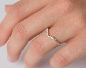 .15 Ct Diamond Chevron 14K Yellow Gold Stackable Ring