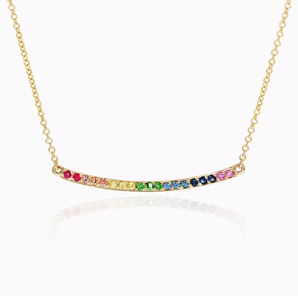 Natural Multi Color Gemstone Curved Bar 14K Gold Necklace