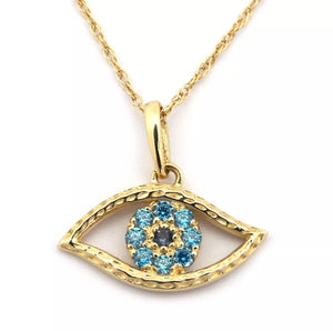 Simulated Sapphire and Blue Topaz Eye Pendant Solid 14K Gold Necklace