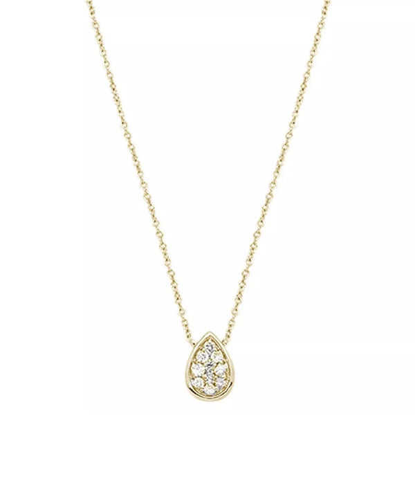 0.12 Ct Natural Diamond Pear Shape 14K Gold Necklace
