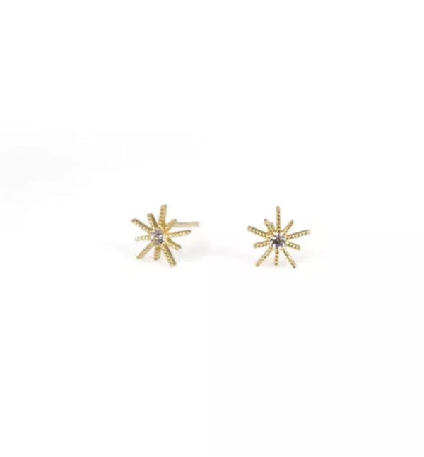Natural Diamond Solid 14K Gold Starburst Stud Earrings