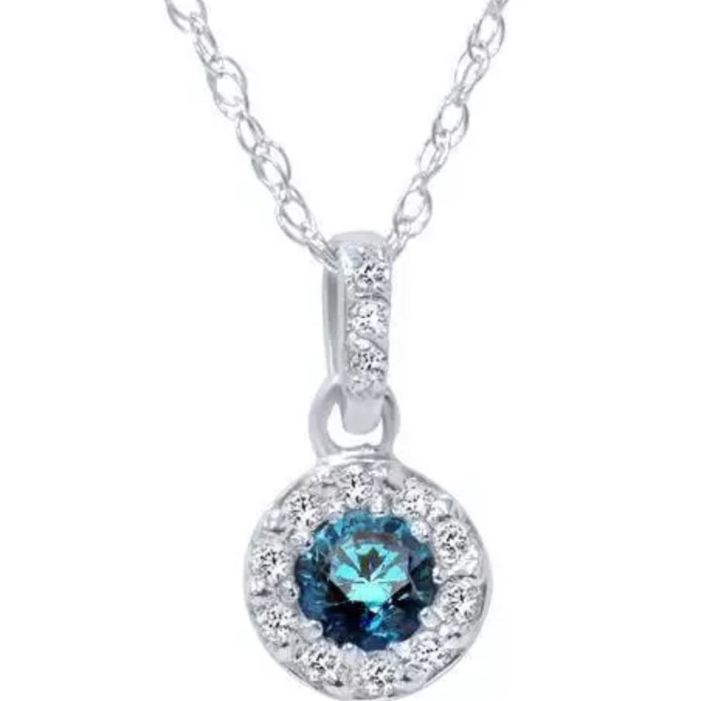 1\4 Ct Natural Blue Diamond Halo Pendant 14K White Gold Necklace