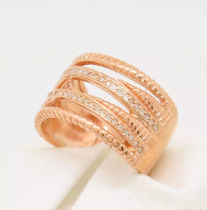 1/4 CT Natural Diamond Rose Gold Over Sterling Ring