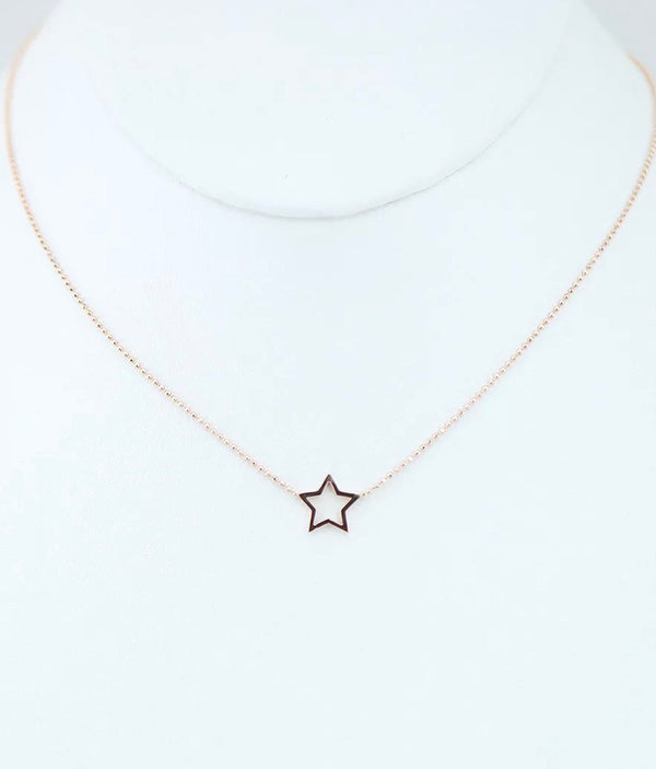 Dainty Solid 14K Gold Star Pendant Choker Necklace