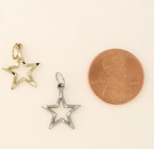 Open Star Pendant Solid 10K Gold Necklace