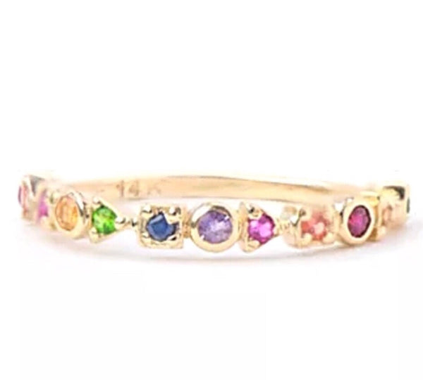 0.15 Ct Natural Multi Gemstone Solid 14K Gold Half Eternity Ring
