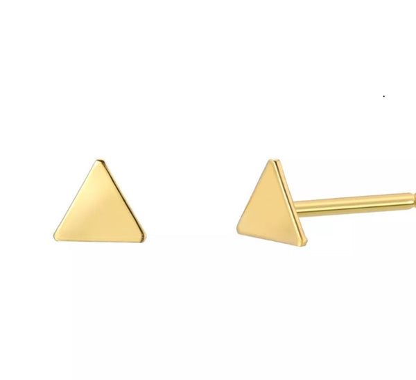 Solid 14k Real Yellow Gold Triangle Minimalist Stud Earrings