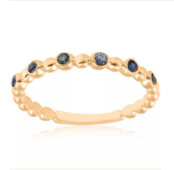 1/8 Ct Blue Sapphire 14K Yellow Gold Ring